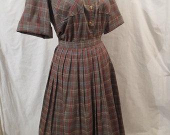 HIGHLAND FLING vintage Scottish tartan plaid suit dress - old store stock Bullocks Wilshire XS