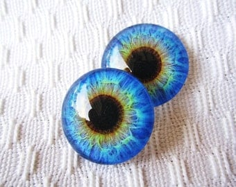 Handmade glass eyes for jewelry making or crafts 20mm cabochons