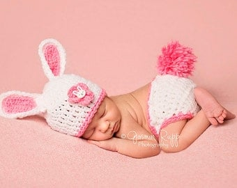 READY Baby Bunny Hat Baby Easter Hat - Baby Girl Hat and Diaper Cover and Flower with Bunny Button