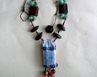Shibori Textile Pendant Beaded Agate Wood Statement Necklace