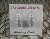 Cornflower Blue Sea Glass Earrings