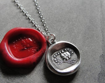 I Defy - wax seal necklace with Zeus thunderbolt - Courageous Daring - antique French wax seal jewelry