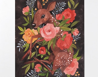 Fawn and Flora - 8x10 art print