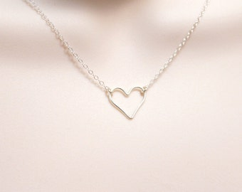 Sterling Silver Heart Necklace, Delicate Dainty Jewelry, Small Open Heart, Minimalist Necklace, Simple Silver Necklace, Gift for Women