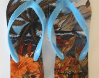 Flip Flops-  Secret Spot - Hawaii .  Artwork by Candace Lee.  Made in Hawaii with Aloha