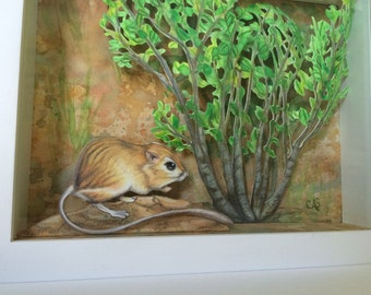 Kangaroo Rat Color Pencil Drawn Paper Cut Shadowbox Diorama