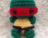 One Amigurumi Crochet Turtle with Ninja Headband -  you choose color! Handmade Crocheted Boys or Girls - Collectible Art Doll