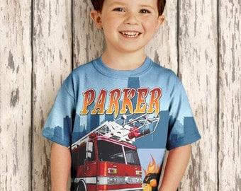 Personalized Fireman Shirt,  Boys Firefighter Birthday, Fire Engine T-Shirt