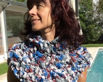 Hand knitted Cowl / hand knit shawl / Chunky eco t-shirt Cowl /hand knit  neck warmer / hand knit scarf / hand knit Capelet