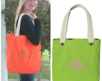 Monogrammed Canvas Tote Bag Custom Embroidery Christmas Gift Under 50 Dollars