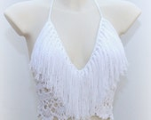 White crochet fringe top, beautiful white top, crochet fringe top, hippie white top, summer tank, summer wear, festival top