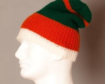 Vintage Winter Stocking Hat - green orange white