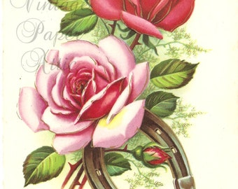 French Vintage Postcard Pink Roses & Horseshoe Post Card from Vintage Paper Attic