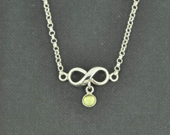 infinity necklace, Interlocking circle necklace, forever, sterling silver, necklace, gold plated, infinity, double circle, Birthstone