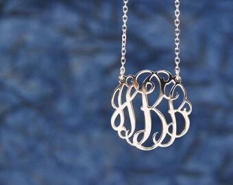 1.25inch silver Monogram Necklace