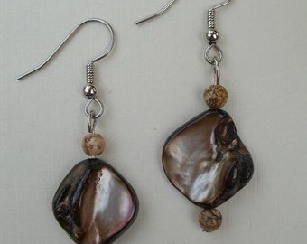 Brown Blister Shell Earrings with Brown Jasper Stone Accent Beads - Fishhook Style for Pierced Ears