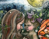 Mother and child fairy under full moon 8x10 professional watercolor print