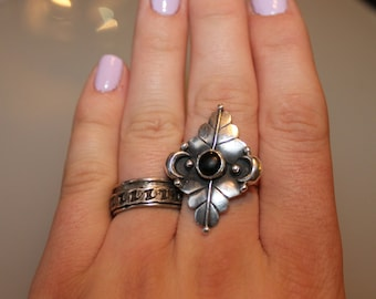 Sterling Silver Vintage Spinner Spinning Ring with Chain Link Braided Detail SIZE 6.5