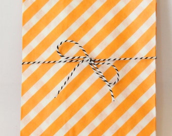 Orange Paper Treat Bags Striped Orange Goodie Bags Halloween Party Supplies Orange Birthday Party Favors Paper Snack Bags / Set of 12