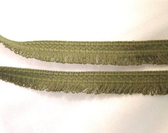 5 yards Looped Fringe Braid Trim: Vintage Green, 1 Inch wide, more yardage available - T1010