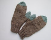 cozy blue and brown hand-knit mittens (size small/medium)