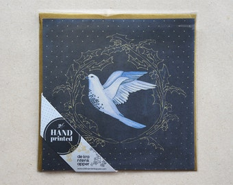 Christmas Card Holly with Dove, Dark Blue and Gold
