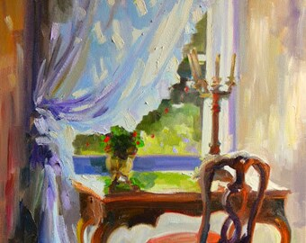 Art Print of LE BUREAU Original Oil Painting, French desk and chair window scene,drapes,cream and purple,french interior,sunlit room