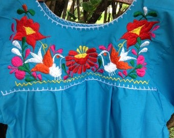 Vintage Turquoise Embroidered Mexican Blouse