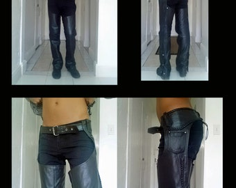 Vintage 1980's Black Leather Motorcycle Chaps... Size XS... Men or Women... Unisex