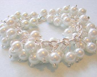 Chunky Bridal Bracelet, White Pearl Cluster Bracelet, Chunky Wedding Jewelry, Cocktail Party Bracelet, Affordable Wedding Jewelry