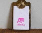 Vintage Brass Seashell Mini Clipboard