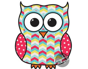 Colorful Tribal Pattern Owl Car Decal Sticker: Geometric Cute Owl Bumper Sticker Laptop Decal Teal Red Yellow