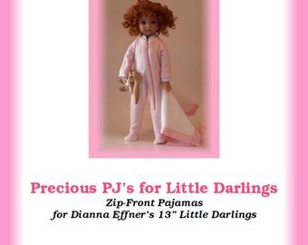 "Precious PJs-LD--PDF Zip-front Pajamas Pattern for Dianna Effner's 13"" Little Darling Studio dolls"