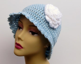 Cloche Hat for Women, Crochet Blue Hat with White Flower, Flower Hat for Girls