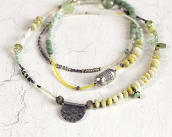 Green Tourmaline Necklace with Jade, Prehnite and Pyrite - Long Green and Yellow Necklace