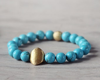 Blue Turquoise Bracelet with Geometric Gold Nugget - Chunky Modern Jewelry - December Birthstone Bracelet