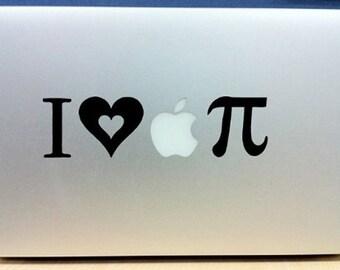I Heart Apple Pi - Vinyl Macbook / Laptop Decal Sticker