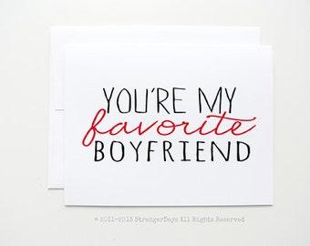 "Anniversary Card "" You're My Favorite Boyfriend "" Greeting card handmade by StrangerDays. Boyfriend Card. Husband Card.I love you card."