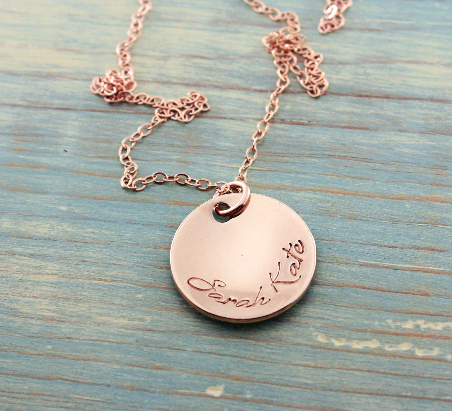 rose gold necklace personalized jewelry hand stamped
