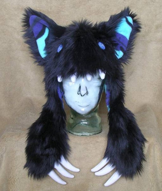 Big furry monster hat Black wolf with blue camo by ...