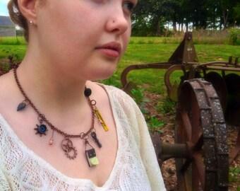Steampunk Charm Necklace - Statement Piece