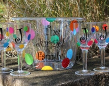 Personalized Acrylic Round Party Tub/ Ice Bucket and 4 Acrylic Wine Glasses