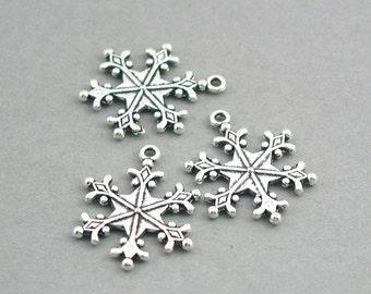 Snowflake Charms Antique Silver 4pcs base metal beads 22X28mm CM0740S