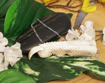 Sale - 3-D Dragon Claw Carved Deer Shed Antler Necklace, Dragon Talon, Sterling Silver and Antler Carving Necklace