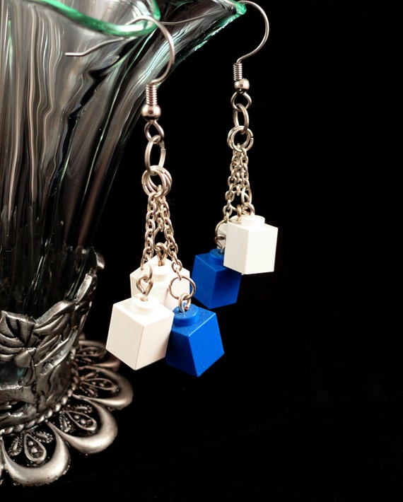 White and Blue Dangle Earrings made with LEGO Bricks