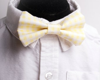 Yellow Gingham Bow Tie -Baby Toddler Child Boys - Wedding - photo prop