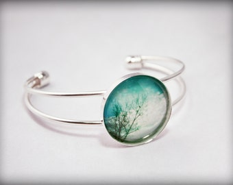 Blue Sky with hearts silver Bracelet Photography photo art bangle