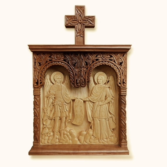 Wall Art Wood Carving Holy Archangels Michael and Gabriel Religious Icon MariyaArts