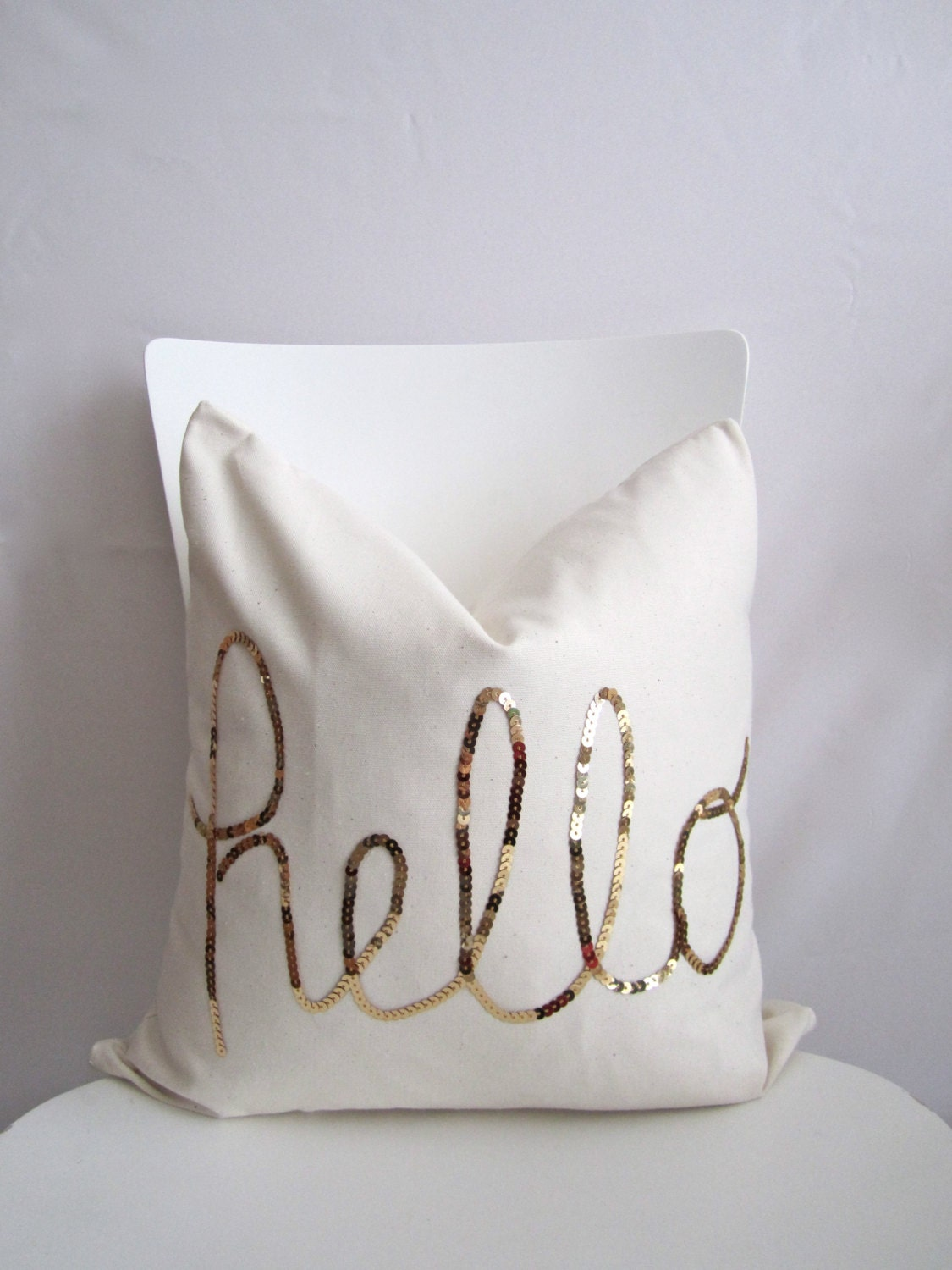 18 inch throw pillow cover, Hello Sequins in Shiny Gold. Natural cotton White color, With zipper ...
