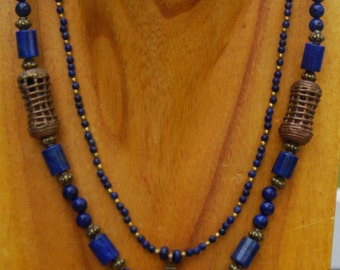 Brass and Lapis Tibetan Pendant with two Strands of Lapis with Antique Brass Accents